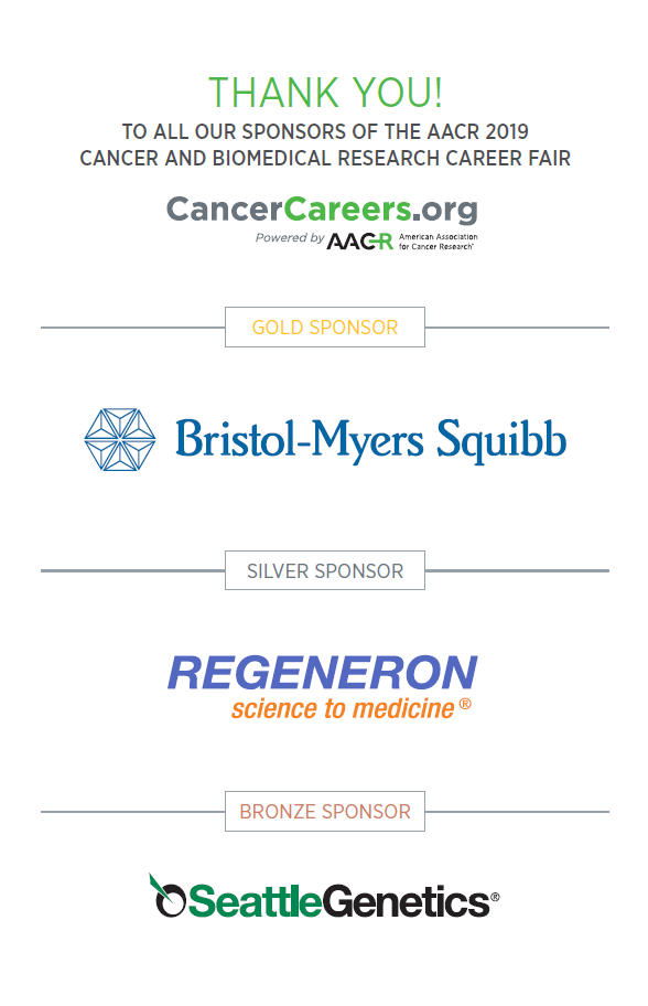 Thank you to all of our sponsors of the AACR 2019 Cancer and