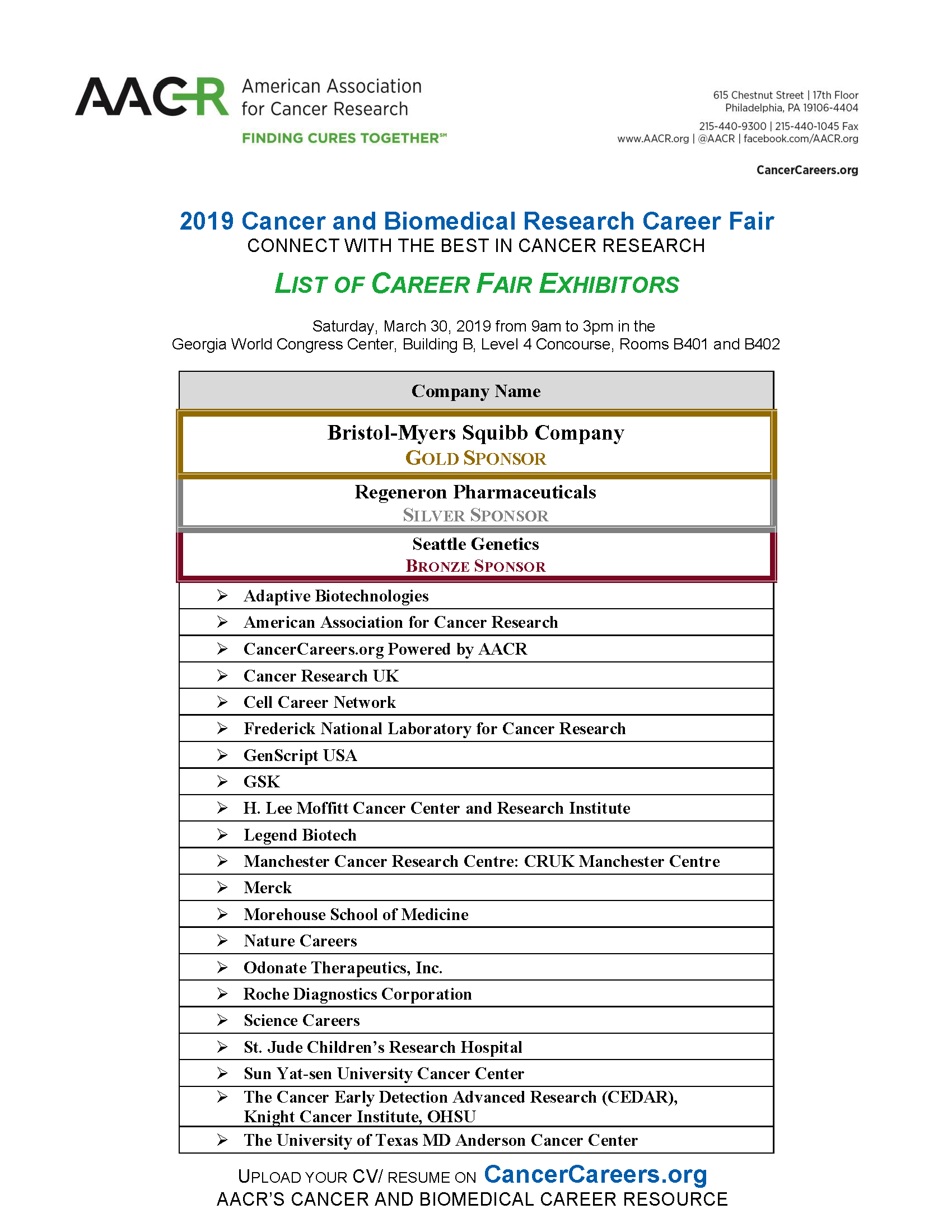 2019 List of Exhibitors | CancerCareers org
