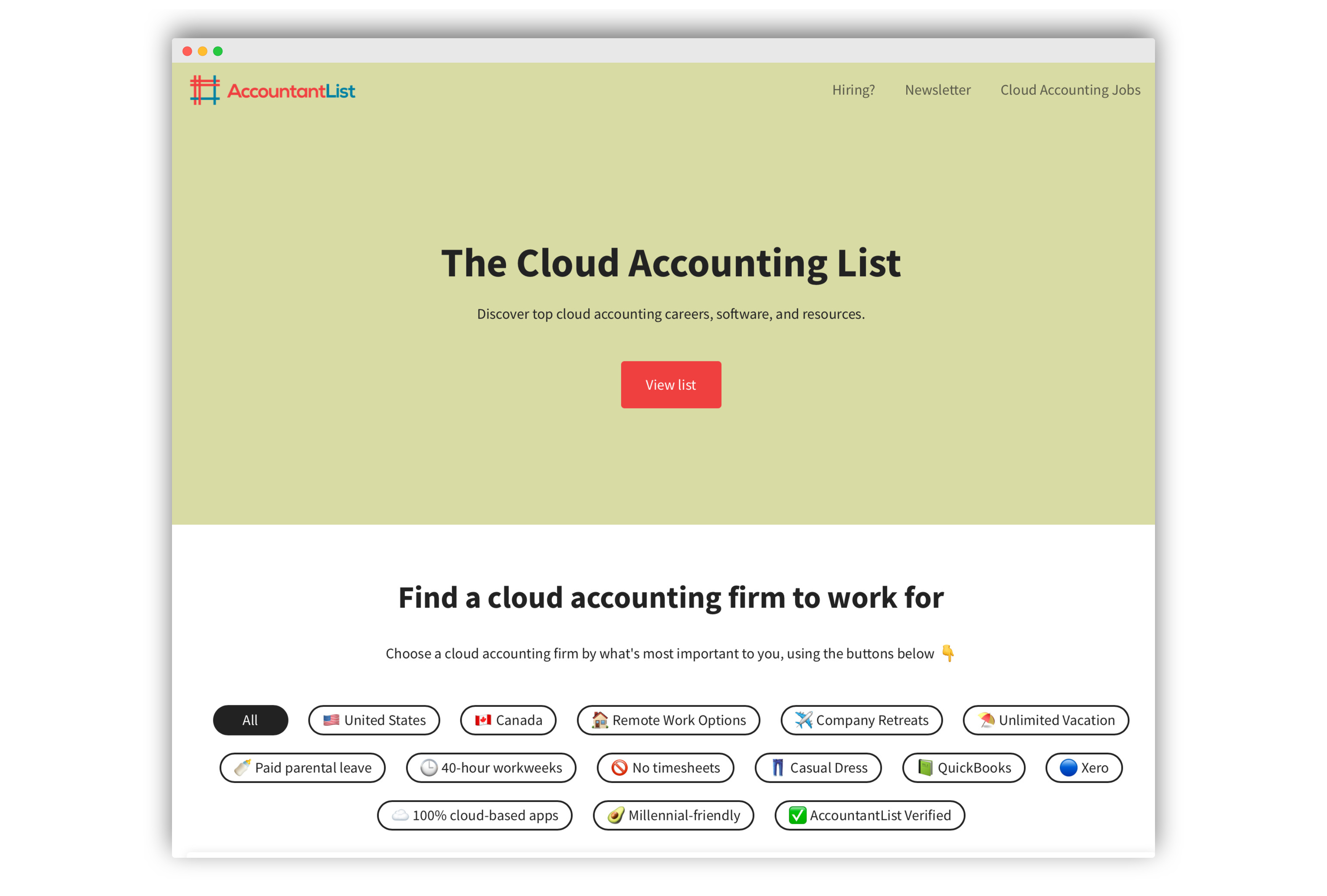 The Cloud Accounting List | AccountantList