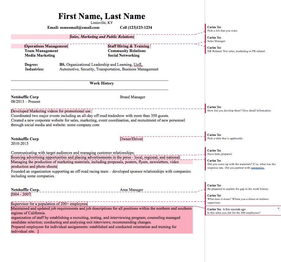 resume review careerseast